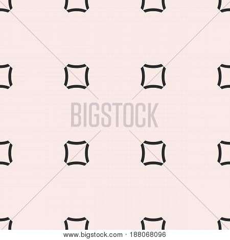 Vector monochrome seamless pattern, simple minimalist geometric texture, black rounded squares on white background. Abstract repeat illustration. Modern design for prints, textile, furniture, decor