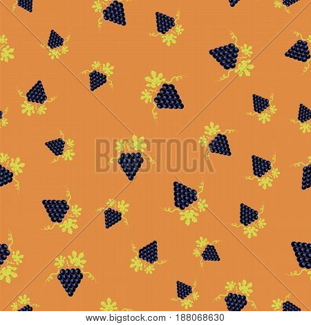 Grapes Seamless Pattern. Vine Background. Fruits and Vegetables Texture.