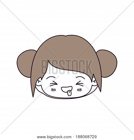 silhouette color sections and light brown hair of kawaii head little girl with collected hair and facial expression unpleasant vector illustration