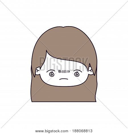 silhouette color sections and light brown hair of kawaii head little girl with straight hair and facial expression bored vector illustration