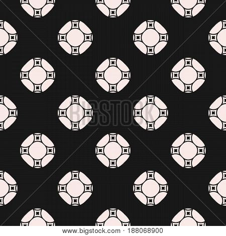 Vector monochrome repeat texture with circles. Geometric seamless pattern with rounded shapes. Abstract repeat ornamental background. Dark design element for decoration, covers, prints, digital, web