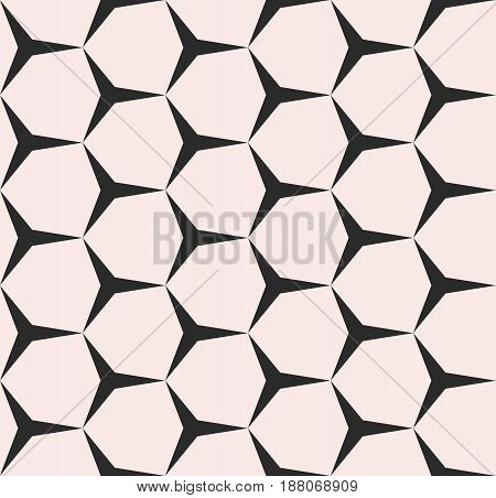 Geometric seamless pattern, vector monochrome texture with simple geometrical shapes triangles hexagons. Illustration of angular, mesh regular grid repeat tiles. Design element for prints, covers