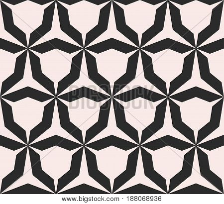 Geometric monochrome texture, vector seamless pattern with simple shapes, angular figures triangular grid. Abstract repeat background for tileable print, embossing, decor, digital, cloth, furniture