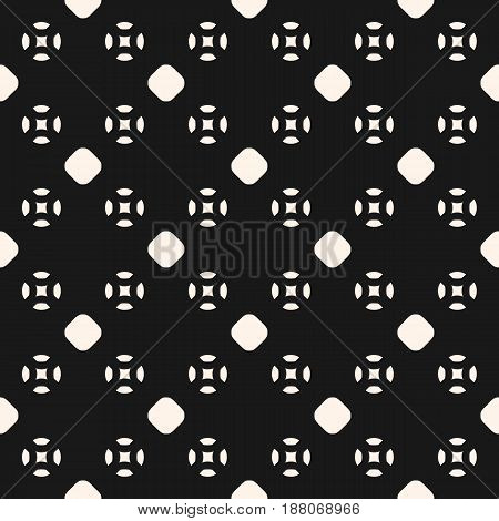 Vector seamless pattern, smooth geometric figures circles. Simple minimalist abstract background, endless monochrome texture repeat tiles. Dark design for fabric, textile, prints, digital, covers