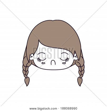 silhouette color sections and light brown hair of kawaii head little girl with braided hair and facial expression disgust vector illustration
