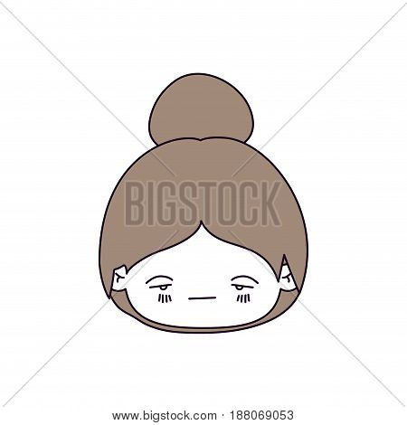 silhouette color sections and light brown hair of kawaii head little girl with collected hair and facial expression sad vector illustration