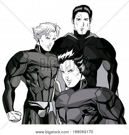 set three cartoon superhero wearing fancy costumes vector illustration