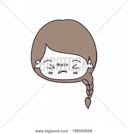 silhouette color sections and light brown hair of kawaii head little girl with braided hair and facial expression angry with closed eyes vector illustration