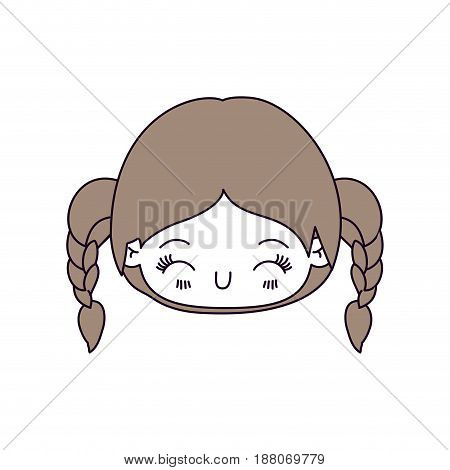silhouette color sections and light brown hair of kawaii head little girl with braided hair and facial expression happiness with closed eyes vector illustration