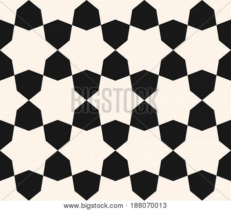 Vector seamless texture, monochrome geometric pattern with simple geometrical shapes, hexagons stars. Elegant abstract background for tileable print decoration, fabric furniture embossing textile