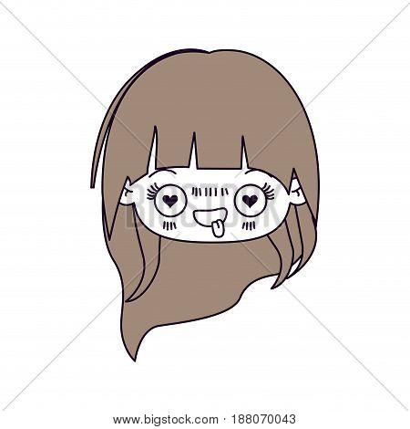 silhouette color sections and light brown hair of kawaii head little girl with long hair and facial expression enamored vector illustration