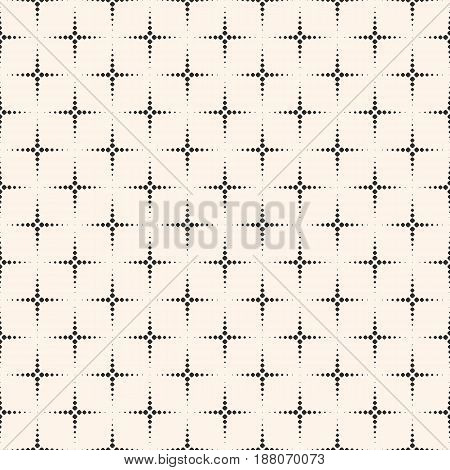 Vector monochrome seamless pattern, simple geometric texture with small dots, flash stippling halftone crosses. Abstract repeat background. Funky design element for decor, prints, textile, furniture