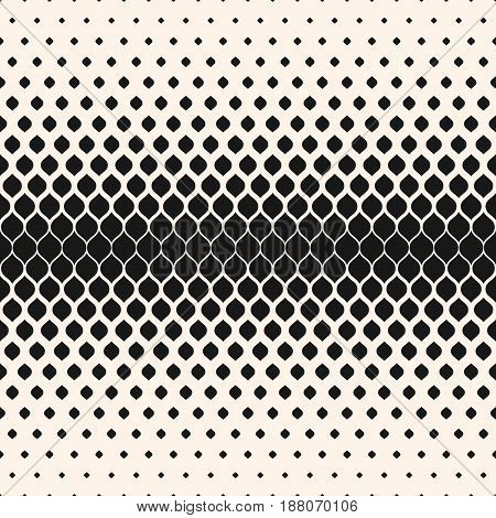 Vector halftone seamless pattern, monochrome geometric texture, visual transition effect, vertical falling rounded shapes. Modern abstract background. Design element for prints, decor, digital, covers