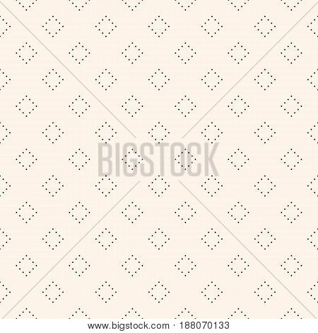 Vector seamless pattern, monochrome minimalist texture with simple figures, small dotted shapes, repeat rhombuses. Abstract geometric background. Light design for prints, fabric, furniture, package