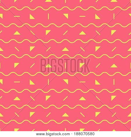 Simple geometric pink seamless pattern of yellow triangles and waves