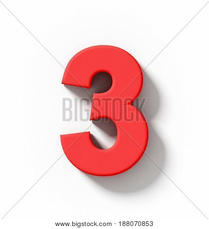 Number 3 3D Red Isolated On White With Shadow - Orthogonal Projection