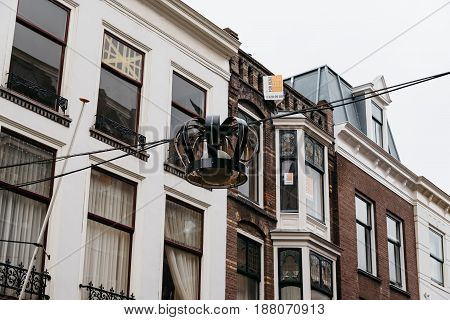 The Hague The Netherlands - August 7 2016: Low angle street view of old buildings in The Hague