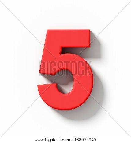 Number 5 3D Red Isolated On White With Shadow - Orthogonal Projection