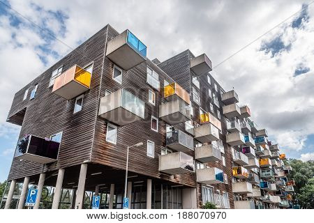 Amsterdam Netherlands - August 08 2016: WoZoCo is a project by MVRDV architects to provide 100 one-bedroom dwellings for seniors in Amsterdam. The building is known because of the extreme cantilever of some of the apartments and the variety of materials: