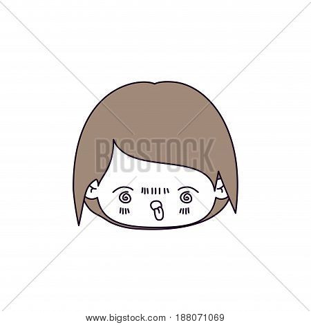 silhouette color sections and light brown hair of kawaii head of little boy with facial expression furious vector illustration