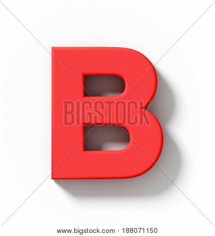 Letter B 3D Red Isolated On White With Shadow - Orthogonal Projection