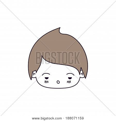 silhouette color sections and light brown hair of kawaii head of little boy with facial expression sad vector illustration