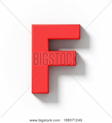 Letter F 3D Red Isolated On White With Shadow - Orthogonal Projection