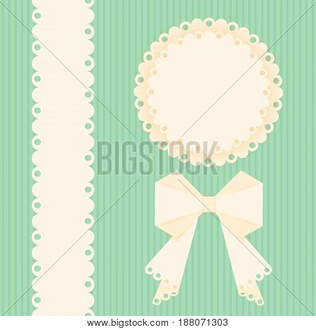 Lacy doilies with bow and ribbon on a green background. Greeting card design template. Vector paper napkin. poster