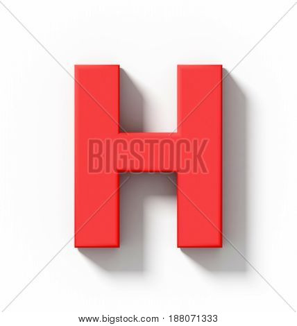 Letter H 3D Red Isolated On White With Shadow - Orthogonal Projection