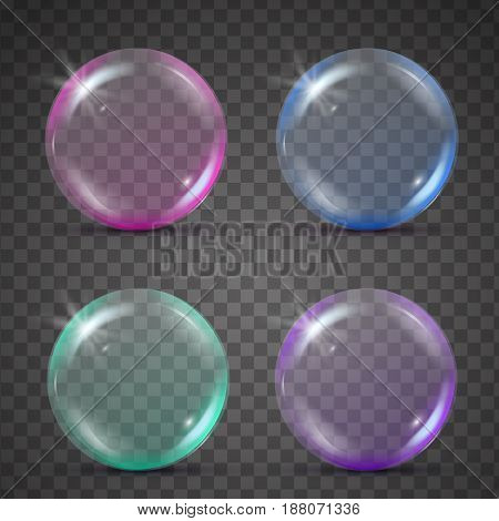 Isolated colorful realistic shampoo bubbles with reflection and blink. Pink, blue, green and purple spheres. Set of 3d glass balls on transparent background. Isolated blowing soap bubbles.