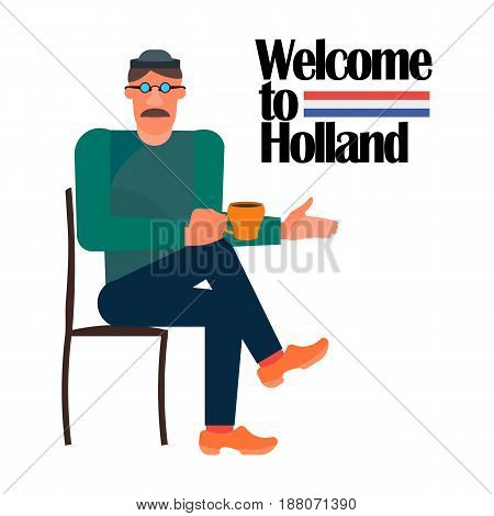 illustration of a Dutch man sitting on a chair in a national costume with a mug of coffee