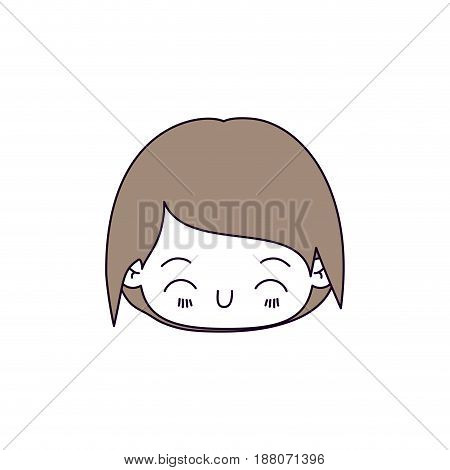 silhouette color sections and light brown hair of kawaii head of little boy with happiness facial expression vector illustration