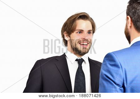 boss and employee happy men in jacket speaking at meeting business and friendship