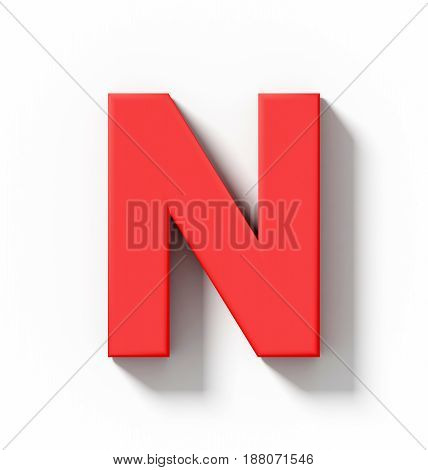 Letter N 3D Red Isolated On White With Shadow - Orthogonal Projection