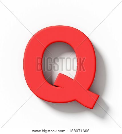 Letter Q 3D Red Isolated On White With Shadow - Orthogonal Projection