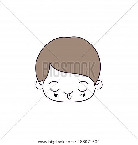 silhouette color sections and light brown hair of kawaii head of little boy with funny facial expression vector illustration