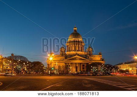 Saint Isaac's Cathedral in the night Saint Petersburg Russia