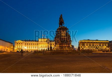 Saint Isaac's Square or Isaakiyevskaya Ploshchad in Saint Petersburg Russia is a major city square sprawling between the Mariinsky Palace and Saint Isaac's Cathedral