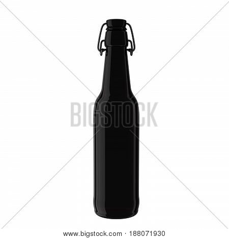 Dark glass bottle mockup. Realistic dark glass bottle with lliquid isolated on background. 3d rendering image