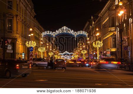 SAINT- PETERSBURG RUSSIA - DECEMBER 27 2015: Nevsky prospect in the New Year's Eve in the evening light Saint-Petersburg Russia