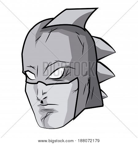 face super hero comic angry expression character vector illustration