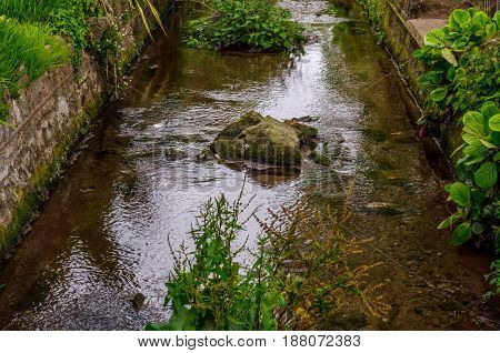 Urban Park With Brook, Wonderful Resting Place, Wooden Benches, Shrubs