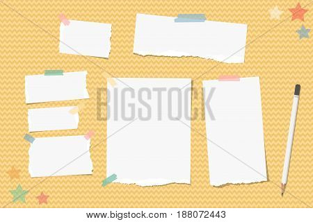 Ripped note, notebook, copybook paper stuck with sticky tape, white pencil, stars on orange wavy background