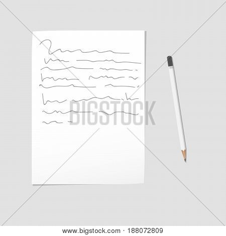 Letter written in pencil on white sheet of paper