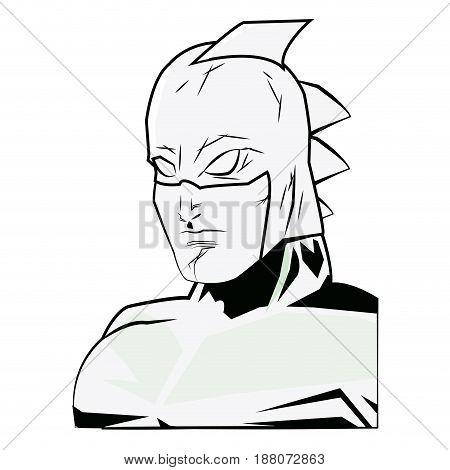 portrait super hero strong male justice symbol vector illustration