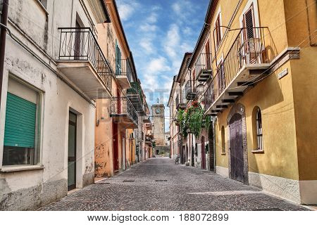 Rocca San Giovanni, Chieti, Abruzzo, Italy: street in the old town with ancient buildings and houses with balconies