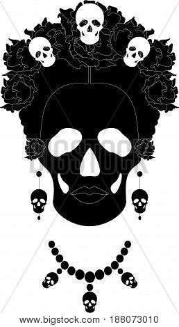 skeleton, portrait of Mexican Catrina with skulls and flowers , inspiration Santa Muerte in Mexico and la Calavera , vector illustration isolated in black and white