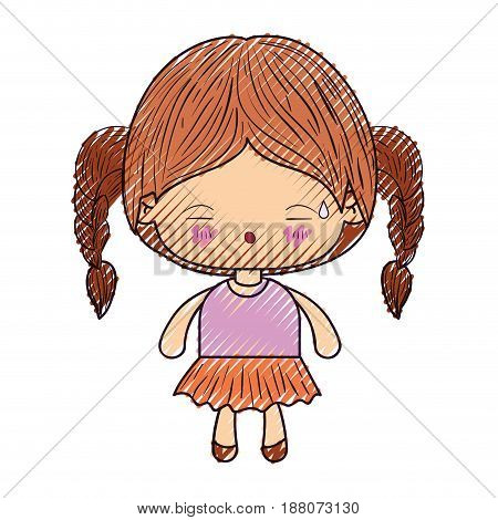 colored crayon silhouette of kawaii little girl with braided hair and facial expression tired vector illustration