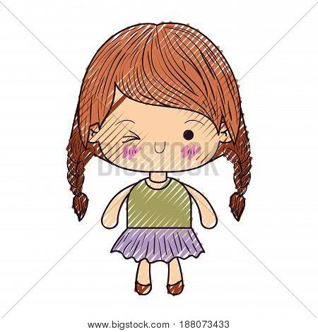colored crayon silhouette of kawaii little girl with braided hair and facial expression wink eye vector illustration