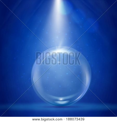 Big bubble with stage illumination and spotlights. Blue deep sea scene with water and sunshine flare. Underwater background with bubble. Glowing rays and sparkles. Sun flash with radiate burst.